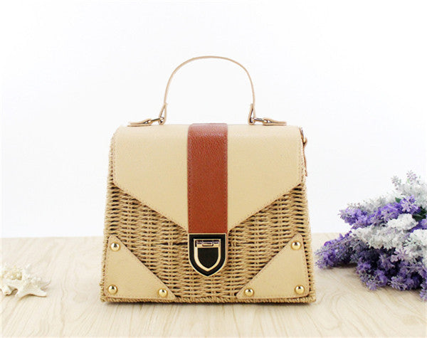 Straw Top Handle Bag