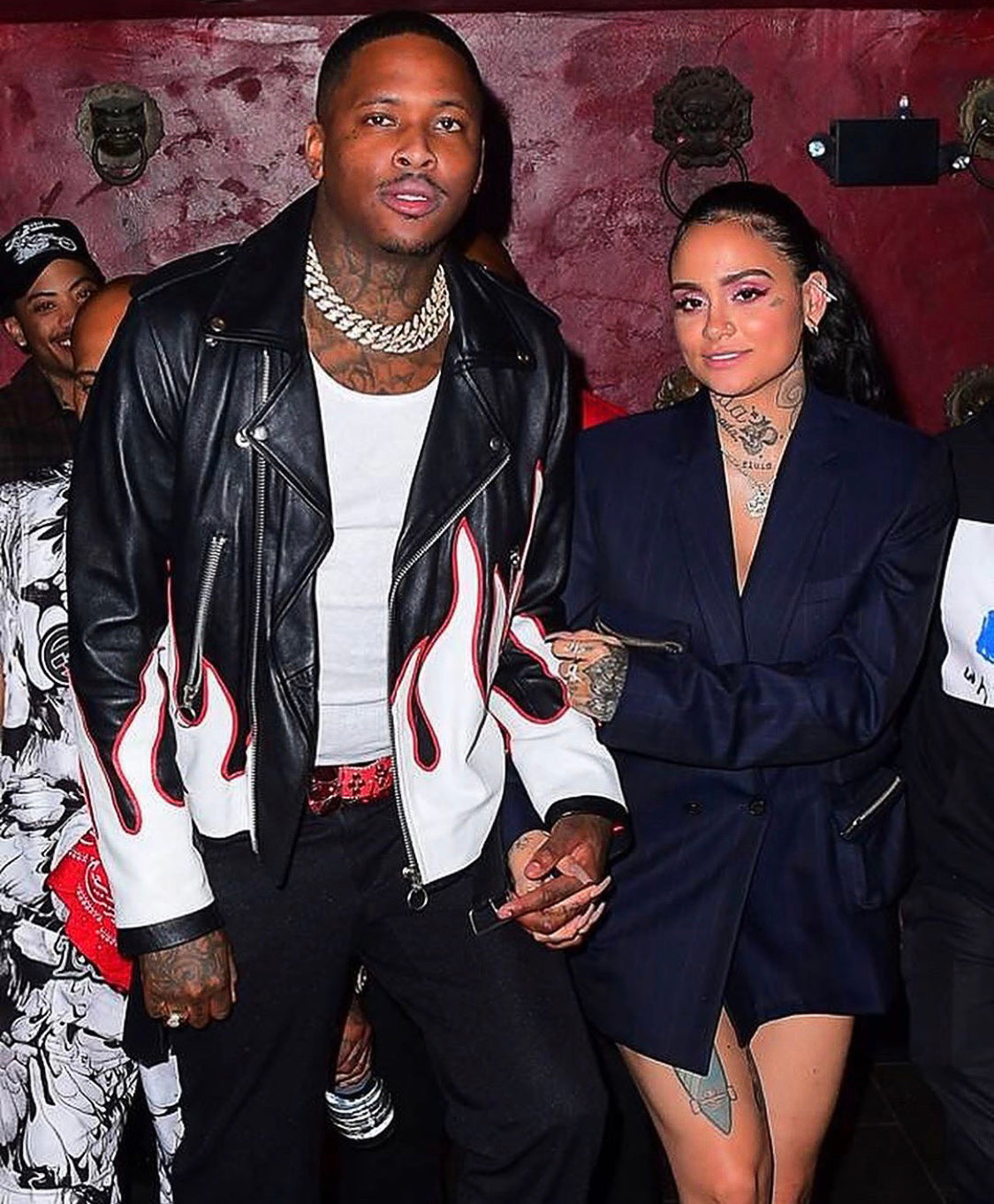 "RAP STAR ""YG"" WEARS ""KLAOS + CONQUER"" LA FLAME LEATHER JACKET NYFW"