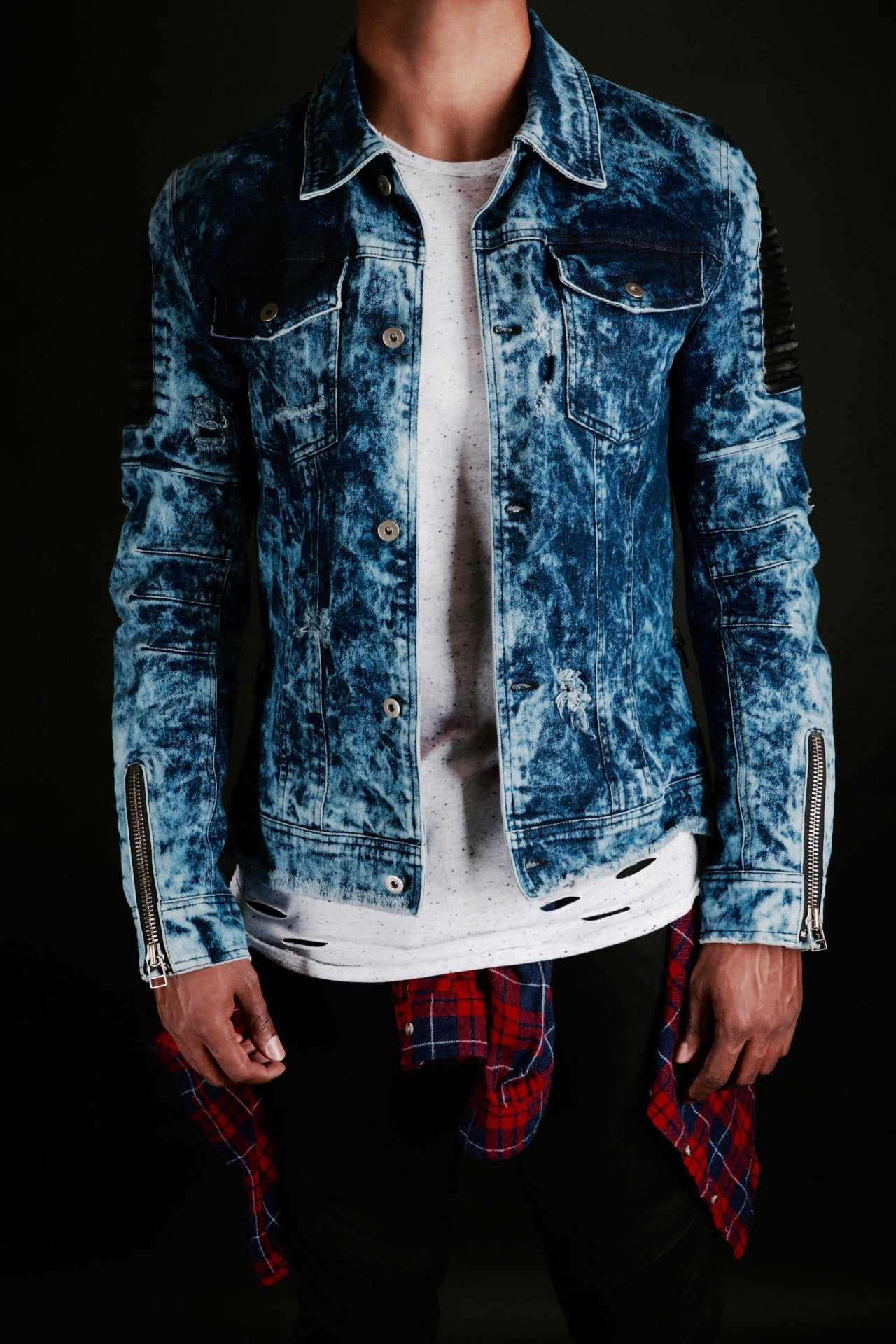 INDIGO DENIM/LEATHER WRECKED BIKER