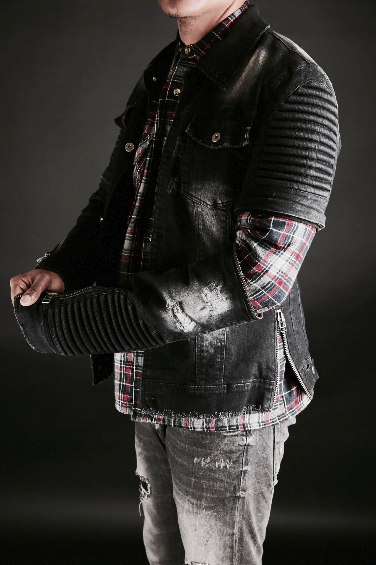 ZIPPER DENIM WRECKED BIKER