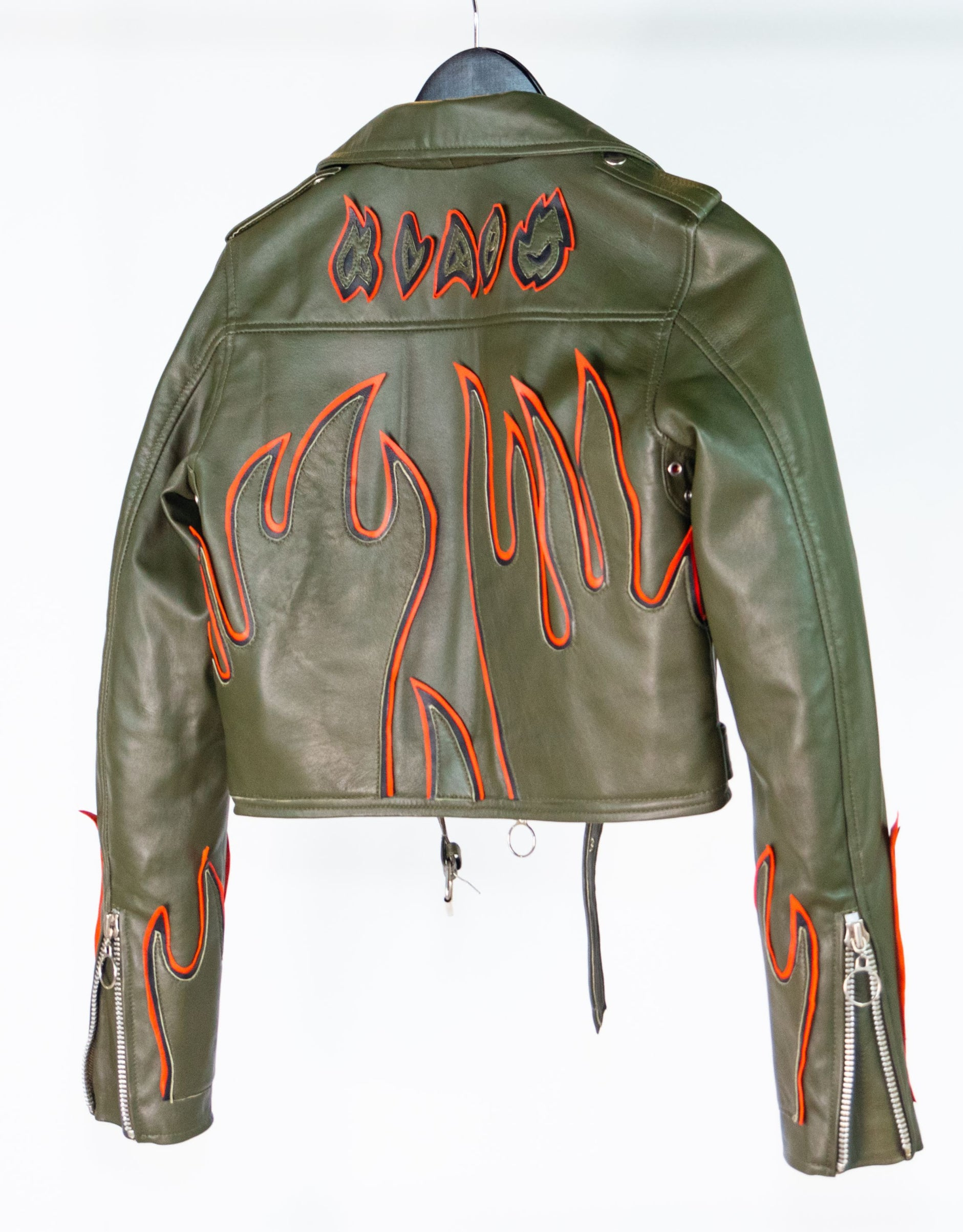 WM CROPPED LA FLAME JACKET (OLIVE)