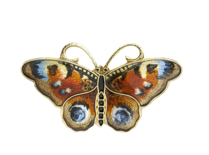 Peacock butterfly brooch from Opro - norwegian enamel jeweller