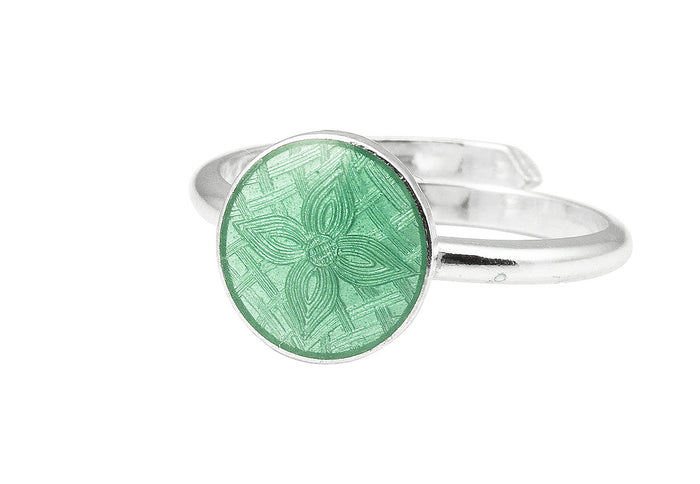 Handmade Circle ring in silver and enamel, from Opro - norwegian enamel jewellery