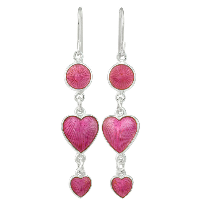 Heartshaped earring, handmade enamel and silver, from Opro - norske emaljesmykker.