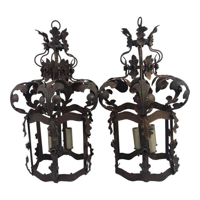 19th C. French Metal Lanterns - a Pair