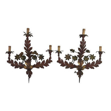 19th c. Italian Painted Tole Sconces - a Pair