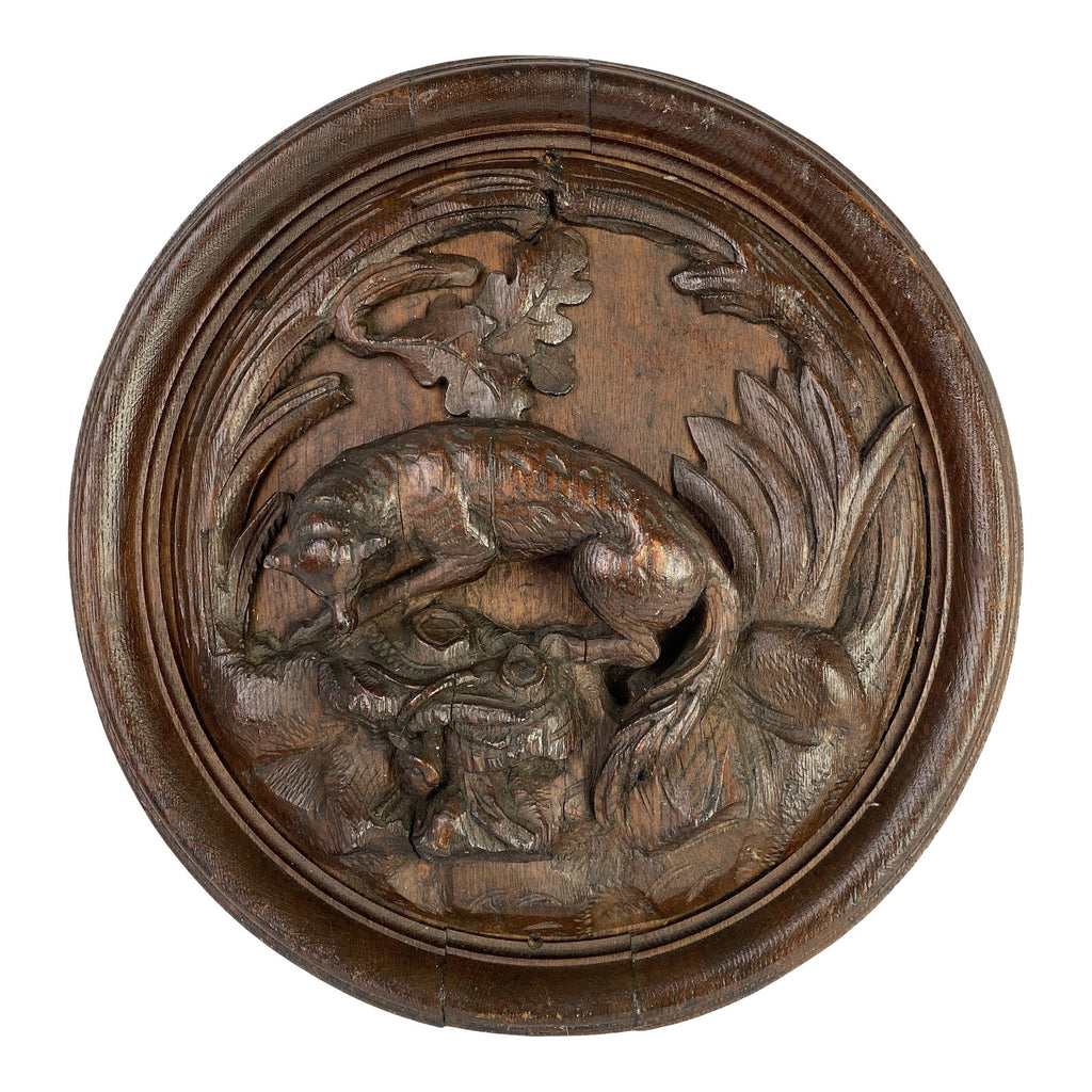 19th C. Black Forest Carved Medallion with Fox
