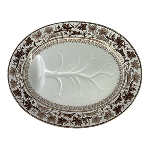 19th C. English Brown Transferware Meat Platter