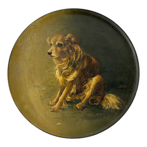 19th C. English Dog Painted Terracotta Plate
