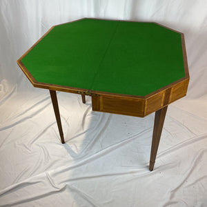 19th C. English Walnut Inlaid Folding Game Table