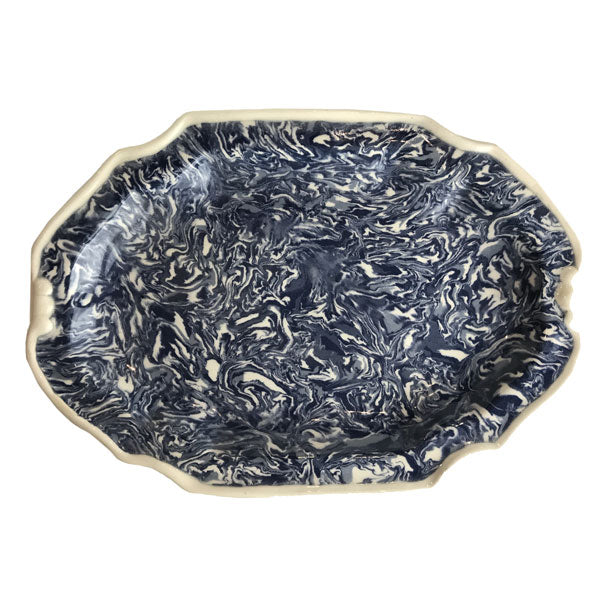 French Blue Aptware Platter avec Orielles (ears)