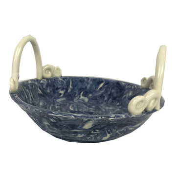 French Blue Aptware Dish with Handles