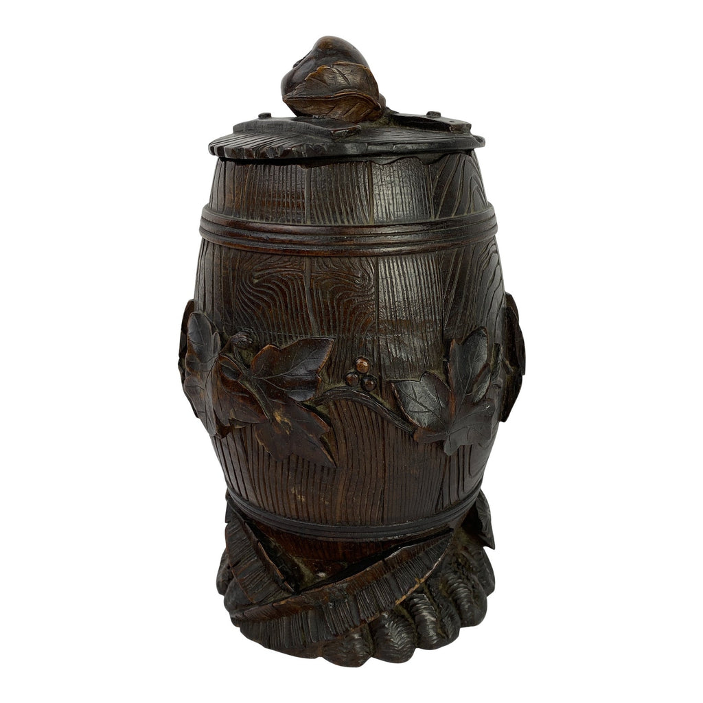 Black Forest Carved Faux Bois Barrel