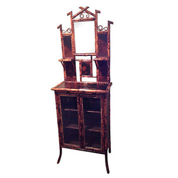 English Glass Front Cabinet with Mirror
