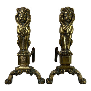 English Brass Lion Andirons, Pair