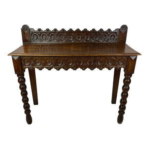 English Carved Oak Hall Table