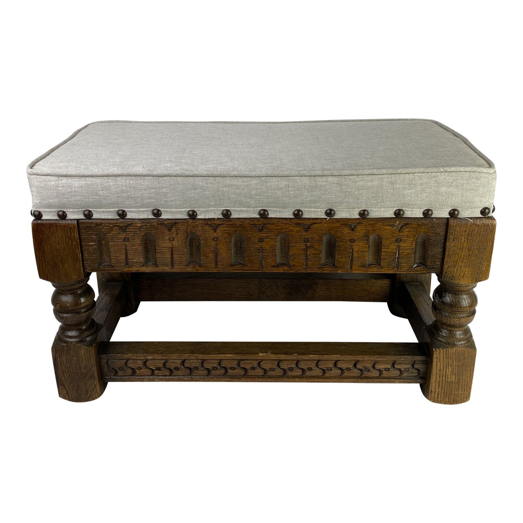 English Carved Upholstered Bench