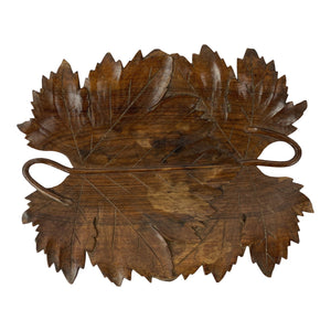English Carved Wood Leaf Tray