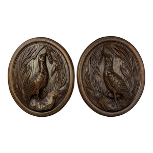 English Carved Wood Panels With Birds - a Pair