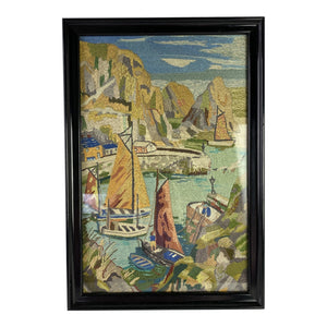 English Framed Needlework of a Harbor Scene