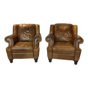 English Leather Club Chairs - a Pair