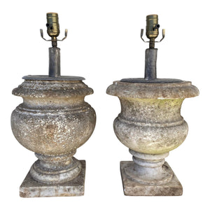 English Marble Unmatching Pair Lamps