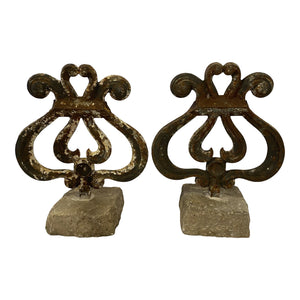 English Metal Finials With Stone Bases, Pair (two pairs available)