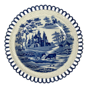 English Pearlware Willow Reticulated Plate