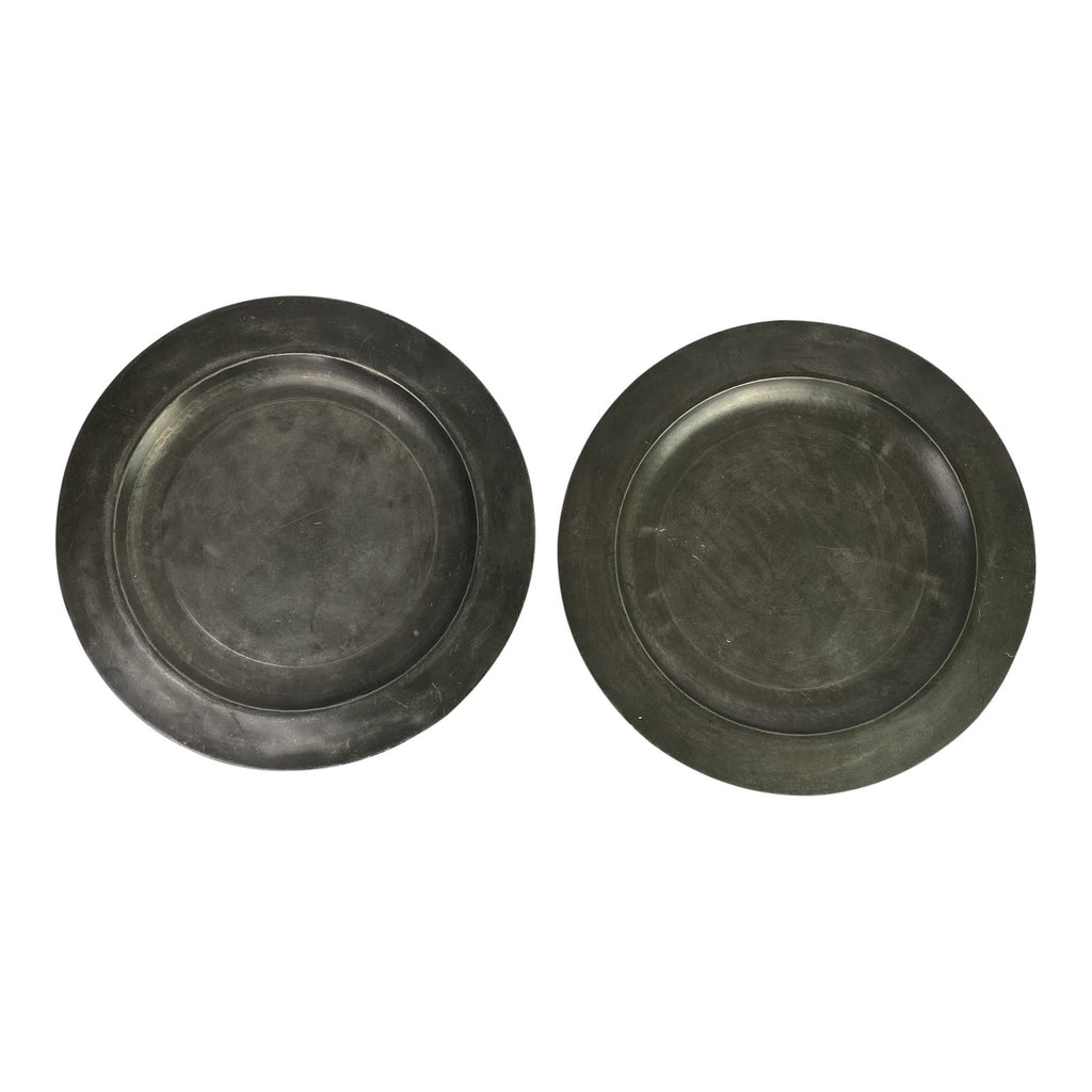 English Pewter Chargers, Pair