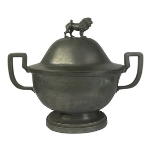 English Pewter Tureen With Lion Finial
