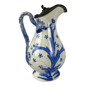English Pitcher With Pewter Top