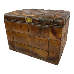 English Tufted Leather Ottoman