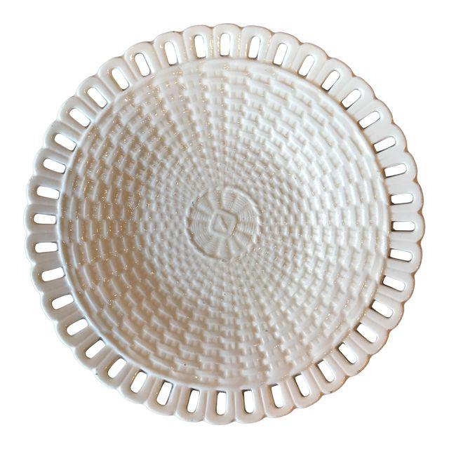 French Basketweave Creamware Plate
