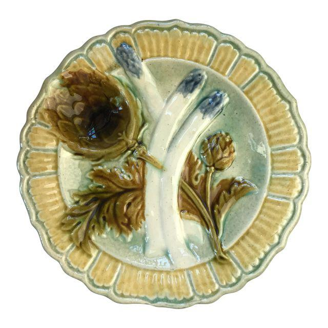 French Majolica Artichoke and Asparagus Plate