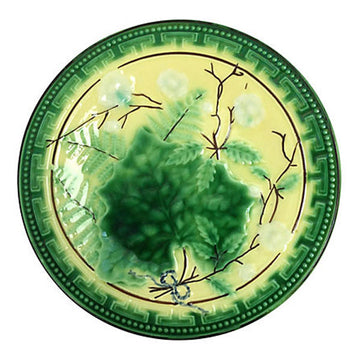 French Majolica Grape Leaf Plate
