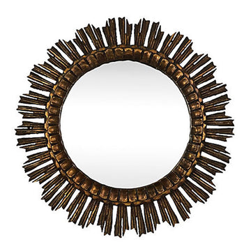 French Starburst Wood Mirror