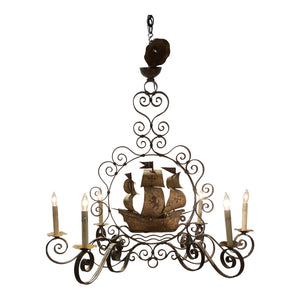 French Iron Ship Chandelier