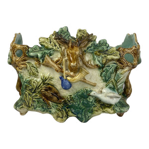 French Majolica Jardiniere With Stag