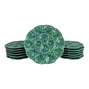 French Turquoise Oyster Plates and Platter - Set of 13
