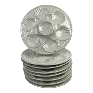 French White Oyster Plates, S/8