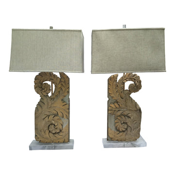 French 18th-C. Fragments Made Into Lamps, Pair