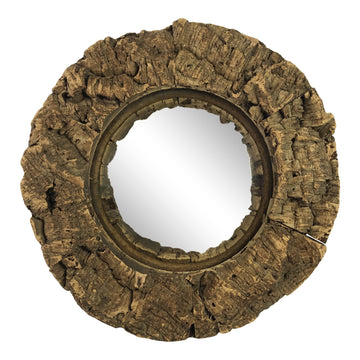 French Cork Convex Mirror
