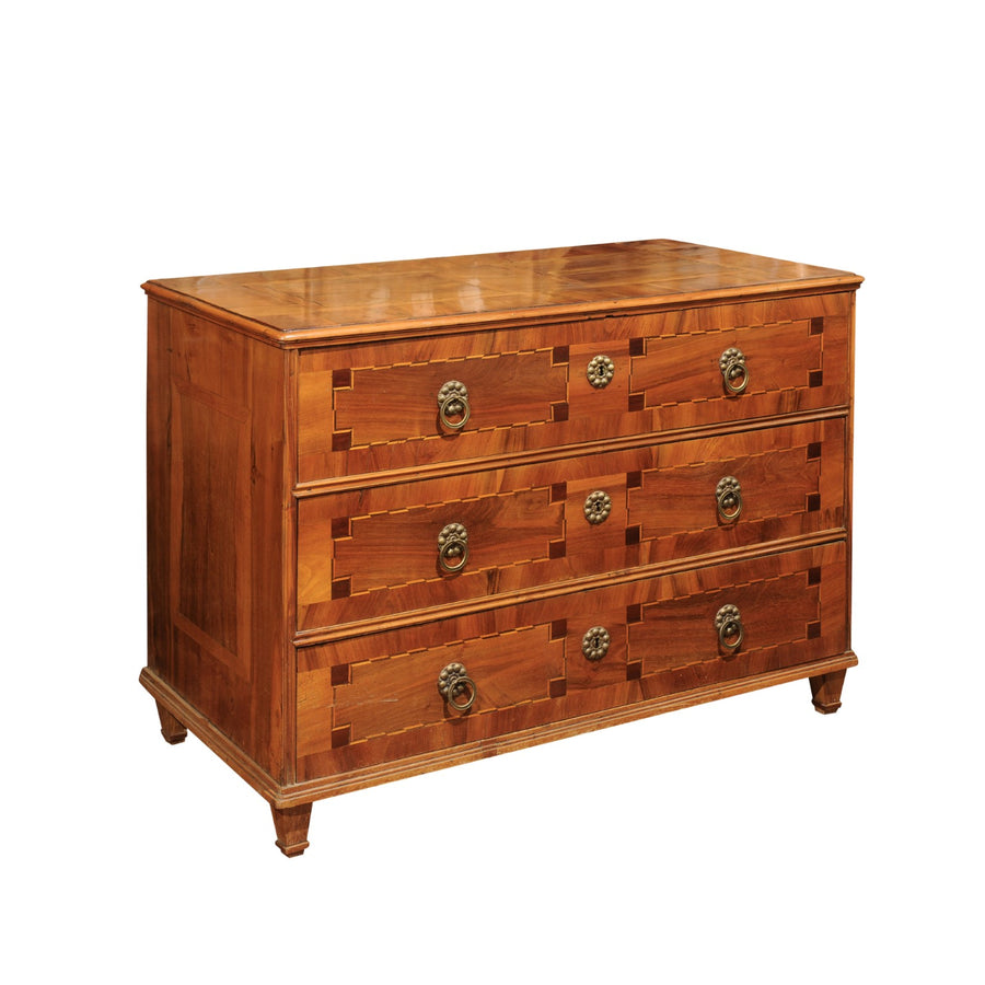 French Inlaid Walnut Commode