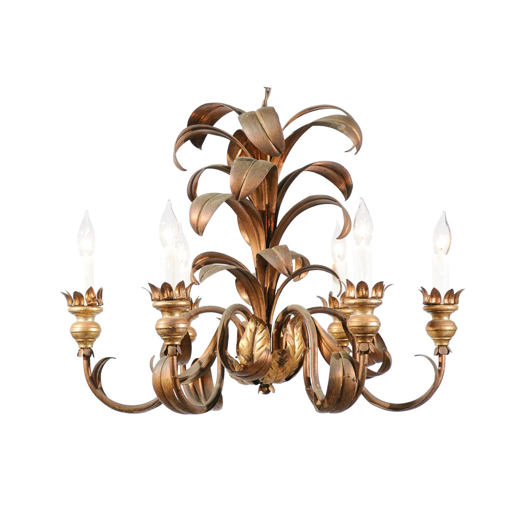 French Mid Century 6 Light Chandelier