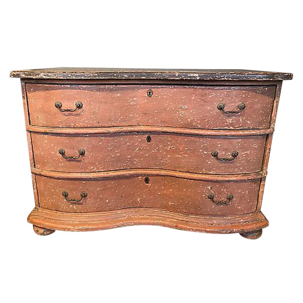 French Painted Serpentine Commode