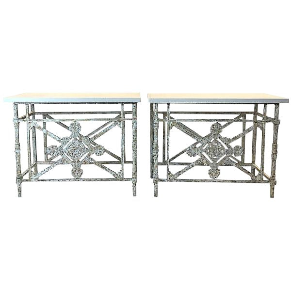 Pair of Tables Made of English Iron Balconies with Travertine Tops