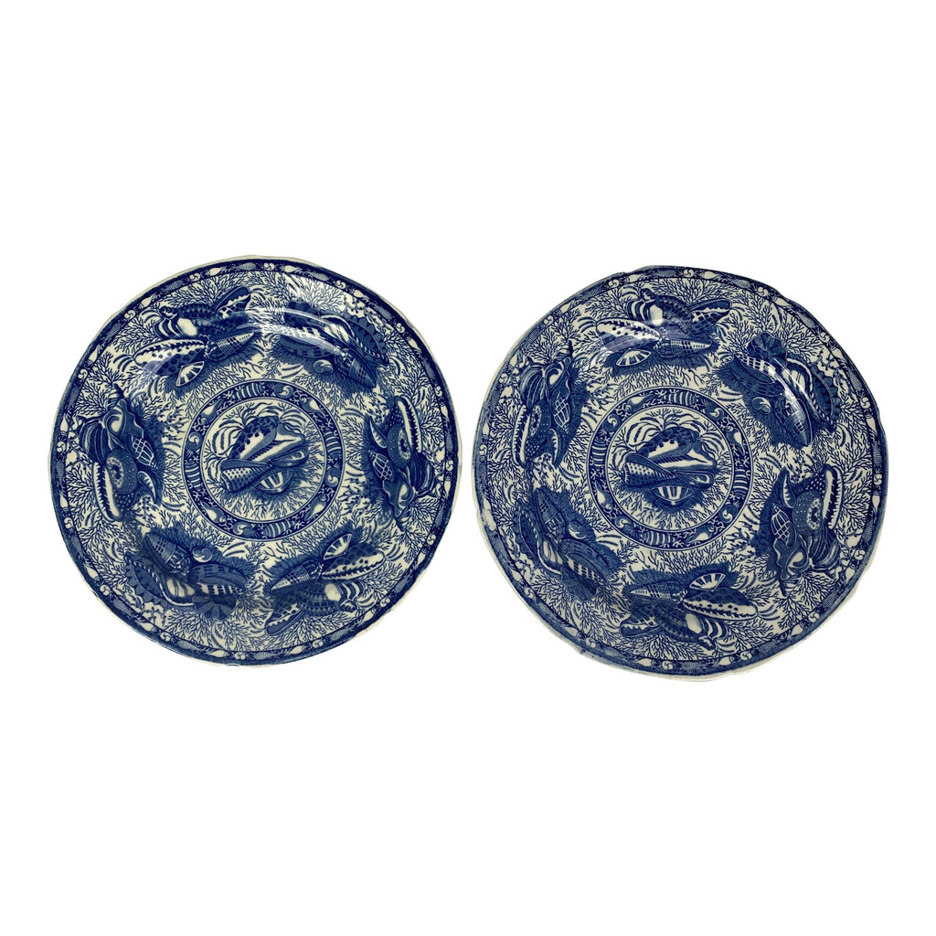 Mottahedeh Torquay Blue Plates, Pair