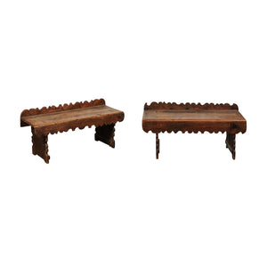 Pair of 18th C. Spanish Pine Benches