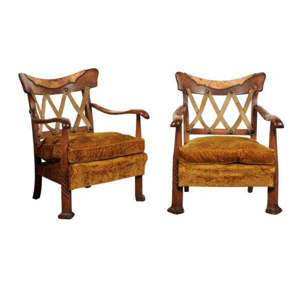 Pair of Art Deco Italian Chairs by Vittorio Valabrega