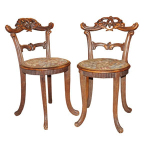 Pair of Black Forest Chairs with Needlepoint Seats
